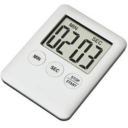 Wholesale Large Digital Table Clock - DHL 100PCS Square Large LCD Digital Kitchen Timer Cooking Timer Alarm Clock Magnet Digital Table Clock