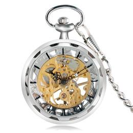 Лучшие часы механического скелета онлайн- Pocket Watch Hand-winding Mechanical Open Face Skeleton Hollow Retro Watches Fashion Cool Women Pendant Silver Best Gift
