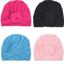 flower claw hair accessories Promo Codes - Baby Top Knot Turban rose hat Toddler soft Turban vintage style retro Hair Accessories girls boys Head wrap LC697