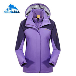 c92f81fdb3 Womens 3in1 Hiking Camping Skiing Fleece Lining Hooded Coat Windbreaker Waterproof  Outdoor Jacket Women Climbing Casaco Feminino