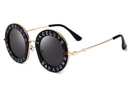 Wholesale Transparent Polarized Glasses - Fashionable Round Alphabet Sunglasses Girl Famous Brand Transparent Lenses Gradually Changing Color Glasses Pink Lovely Metallic Sunglasses