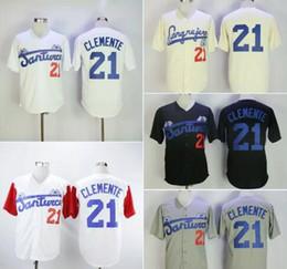 Jersey de beisbol negro barato online-Moda hombre Santurce Crabbers Puerto Rico Roberto Clemente Jersey 21 Barato negro blanco gris cosido universidad Béisbol camisas