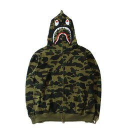 Wholesale Animal Wounds - Tide Brand Men Hoodies Autumn And Winter New Pattern Shark Personality Street Military Wind Camouflage Loose Coat Male Suit-dress