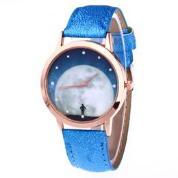 Wholesale Moon Watch Design - New women's leather belt watch landing on the moon design students quartz display goods