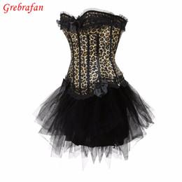 Wholesale burlesque corsets dress - Burlesque dance costume showgirl costume leopard corset Can Can Tutu Fancy Dress Corset Outfit