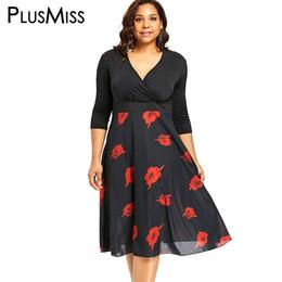 4e07905d109a PlusMiss Plus Size 5XL XXXXL XXXL Vintage Retro Rose Floral Flower Print  Chiffon Dress Women Big Size Black V Neck Party Dresses