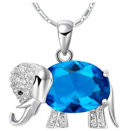 best valentines day gifts Promo Codes - DHL Women Diamond Pendant Necklace Jewelry Blue Crystal Elephant Best Gift for Rhinestone Necklace Fashion Jewelry Valentine Day Gift