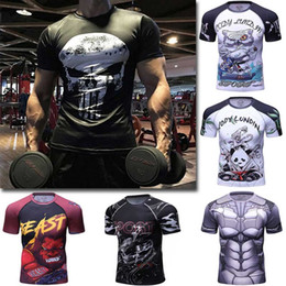 Wholesale animal t shirts bodybuilding - Men sport T shirt Yoga Gym clothes High Quality Fitness Mens Compression short sleeve Bodybuilding Tights Tops Male Quick drying shirt