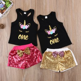 Wholesale Shirt Cotton One Color - Unicorn Toddler Kids Baby Girls Sleeveless T-shirt Tops Letters One Vest+Shorts Sequins Outfits Cute Bow Set Clothes