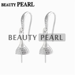 weißgold nummer 925 Rabatt Ohrringe Einstellung für runde Perlen und Cabochon 925 Sterling Silber Zirkone Haken Ohrring Erkenntnisse 5 Paare