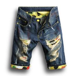 Джинсовые шорты мужские онлайн-2018 новая мода мужская разорвал короткие джинсы марка одежды хлопок шорты дышащий джинсовые шорты мужской личности шорты