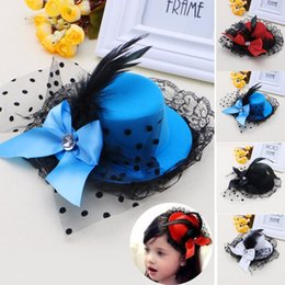 Wholesale Red Mini Top Hats - Women Girl Bow Hair Clip Lace Feather Mini Top Hat Fascinator Fancy Party Dress