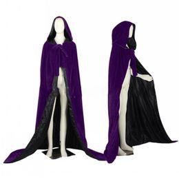 traje de capa púrpura Rebajas Purple Wedding Jacket Wraps Warm Velvet sin mangas capucha Capas Disfraces de Halloween para mujeres hombres Cosplay capa nupcial S-6XL