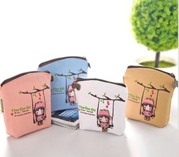 Wholesale Korean Car Styling - Cute Swing Grils Canvas Classic Small Change Coin Purse Little Key Car Pouch Money Bag Girl's Mini Short Coin Holder Wallet