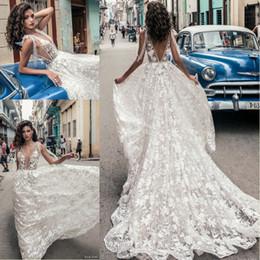 Wholesale julie vino - Julie Vino 2018 Sexy Deep V Neck Backless Wedding Dresses Floor Length Full Lace Floral Appliques Wedding Dress Beach Bridal Gowns