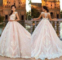 Wholesale Miss France - Blush Pink Lace Wedding Dresses 2018 Vintage Dubai Royal Bridal Gowns Illusion Sheer Jewel Neck Sweep Train France Lace Wedding Gowns