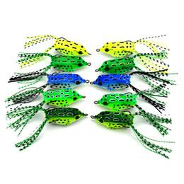 la pêche à la grenouille Promotion 10pcs / lot grenouille pêche leurre appât en plastique souple avec leurres de crochet top eau de pêche appâts artificiels minnow grenouille leurre