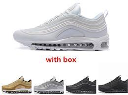 Wholesale premium white - 97 OG Triple black Metallic Gold Silver Bullet WHITE 3M Premium Running Shoes 97 sneaker sports shoes free shipping