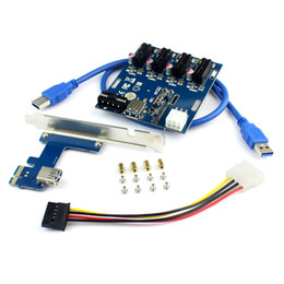 Tarjetas de slot pci express online-aad en tarjeta PCIe 1 a 4 ranuras PCI express 1X Tarjeta vertical Mini ITX a externa Adaptador de ranura PCI-e 4 Tarjeta de multiplicador de puertos PCIe 10pc / lote