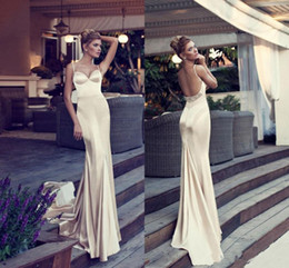 dress porm pink Promo Codes - Glamorous Champagne Mermaid Evening Dresses Spaghetti Straps Backless Court Train Beads Elastic Satin Long Porm Dresses Formal Wear