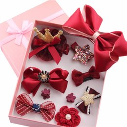 Baby Girl Hair Accessories Hairpin Jewelry Birthday Gift With Box Female Treasure Suit Headdress 10 Pcs Set Good 2018