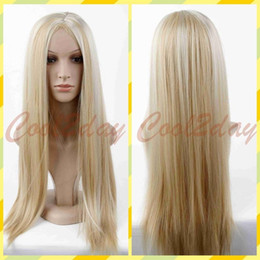 Wholesale Blonde Lolita - Womens Long Blonde Mix Straight Natural Wig Hair Full Wigs Ombre Wigs Lolita Wig