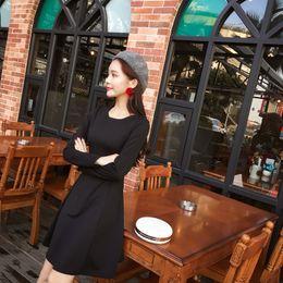 Sprig New Women Korean New Hepburn Little Black Slim Thin Long Sleeve Dress 9565c763d344