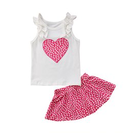 Wholesale stylish boys clothes - Stylish Newborn Kids Baby Girls Love Heart Vest Top + Skirt   Pants Leggings Outfits Clothes