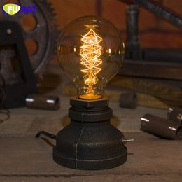 Wholesale iron table lamp vintage - FUMAT Metal Table Lamp with E27 Edison Bulb American Country Retro Vintage Table Light Creative Industrial Lamp Water Pipe