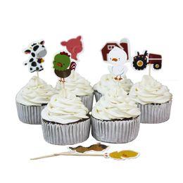 biscotti di natale Sconti 24 pz / set Animali da fattoria Mucca trattore Cupcake Picks Cake Toppers Cartone animato Inserti per torta Carta Regali per feste di Natale per bambini Decorazioni di compleanno C5008