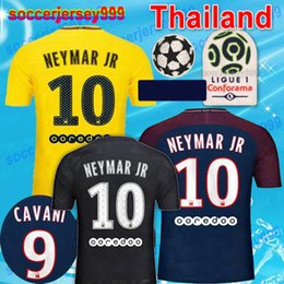 Wholesale Champions Football - Maillot de foot MBAPPE NEYMAR JR soccer jerseys 2018 CAVANI DANI ALVES jersey 17 18 football shirt KIT Champions league NEYMAR camisetas Top