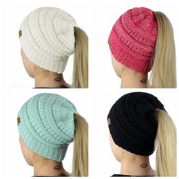 Wholesale Hat Designs For Women - Cable Knit Beanie Hat Pony Tail CC Hat Super Soft Warm with Hole Classic Design Cap Kniitted Beanies Hat for Woman