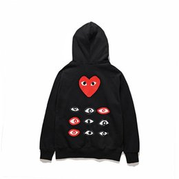 Wholesale Women S Sweater Hearts - 2018 Hot AAA Quality HOLIDAY Heart Emoji C003D Black Unisex Casual Cotton Red Heart Embroidery CDG Play Sweater Loose Hoodies Coat