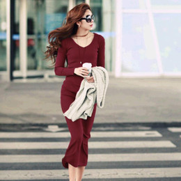 Wholesale basic cotton long dress - Women Sexy Sweater Dress Autumn Winter Fashion V Neck Bodycon Basic Mini Solid Color Knitted Dress