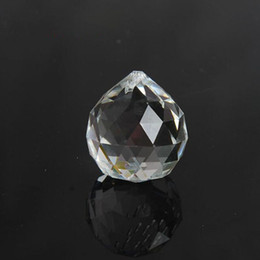 Wholesale Crystal Glass Faceted Stones - 30mm Quartz Crystal Glass Faceted Ball Paperweight Natural Stones Minerals Feng Shui Crystals Balls Home Decoration ZA5845