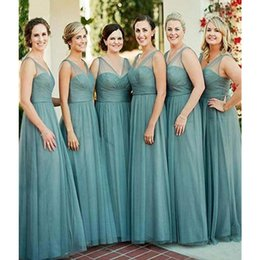15d0454dd2e Dusty Blue Tulle Bridesmaid Dresses For Western Country Weddings A Line  Sheer V Neck Floor Length Maid Of Honor Wedding Party Wear Cheap discount  country ...