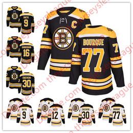 Wholesale Hot Johnny - Boston Bruins 2018 Hot Sale #9 Johnny Bucyk 12 Adam Oates 16 Derek Sanderson 77 Ray Bourque White Black Stitched Hockey Jerseys S-60
