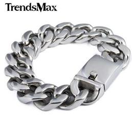 armband 19mm Rabatt Trendsmax 19mm poliert Silber Farbe Cut Curb Cuban Link 316L Edelstahl Armband Herren Kette Jungen Großhandel Schmuck HB165