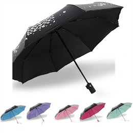 Wholesale Blue Abstract Designs - Fully-automatic Rain  Sun Umbrella With Cherry Blossom Pattern 3 Folding Thickening Fashion Abstract Art Design For Women
