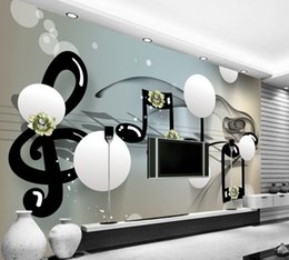 Wholesale modern music paintings - Free Shipping Custom 3D Ball Stereo Abstract Background Wall Painting Music Symbols Living Room Photo Wall Minimalism Wallpaper