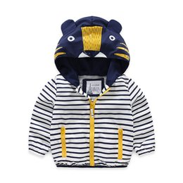 Wholesale korean children boys jacket - Baby Boys Outerwear Spring Autumn 2018 Children Clothing New Jackets Boys Korean Hooded Zipper Kids Cartoon Topcoat Striped Tops