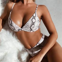 2019 novos padrões de sutiã Macheda Mulheres Underwear 2 Peça Set Padrão De Pele De Serpente Baixa No Peito Sutiã E Calcinha Sexy Para Senhoras Cueca Conjunto Casual 2018 Novo