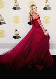 2019 vestidos de fiesta suaves lavanda Impresionante vestido de fiesta de Borgoña Vestido de baile Vestidos de baile Sexy Sweetheart mangas largas plisados Tulle Sweep Train Vestidos de noche cremallera Volver