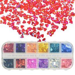 1 caso a forma di cuore glitter per unghie scintillanti paillettes laser 3d decorazioni per unghie artistiche paillette fiocchi suggerimenti 12 colori fai da te manicure SA469 da