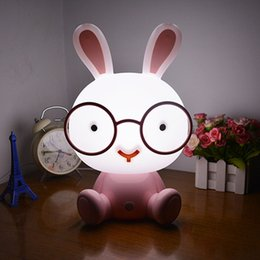 Wholesale Led Panda Lamp - Cute Rabbit  Panda Puppy Touch LED Table Lamp Plug USB Energy Saving Night Light 3 Modes Dimming Light Kids Birthday Gift
