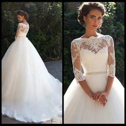 Wholesale High Collar Quarter Sleeve - Vintage Lace 2018 Ball Gown Wedding Dresses Milla nova Three Quarter Long Sleeves Sheer Neck Tulle Bridal Gowns with Covered Buttons