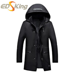Wholesale Fashionable Winter Hats Men - Mens Winter Young Fashionable Cotton Long Paragraph Down Jackets Man Thickening Cotton Suits Winter Feathers Jacket Hoodies Park
