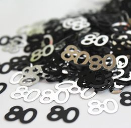Wholesale table decoration confetti - Grandfather Grandma Age 80th happy birthday party decoration Table Scatter kits BLACK PINK SILVER 80 CONFETTI PARTY DECORATIONS
