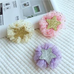 boutique da estrela da forma Desconto Boutique por atacado 15 pcs Moda Bonito Glitter Star Hairpins Gaze Sólida Floral Grampos de Cabelo Princesa Acessórios Para o Cabelo Headware