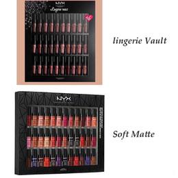 Wholesale Top Brand Makeup Wholesale - TOP NYX 36pcs Set Lipstick Soft Matte Lip Cream Vault Charming Long-lasting Daily Party Brand Glossy Makeup Lipstick nyx Cosmetics FREE DHL
